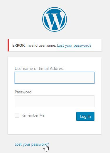 Wordpress Lost Password